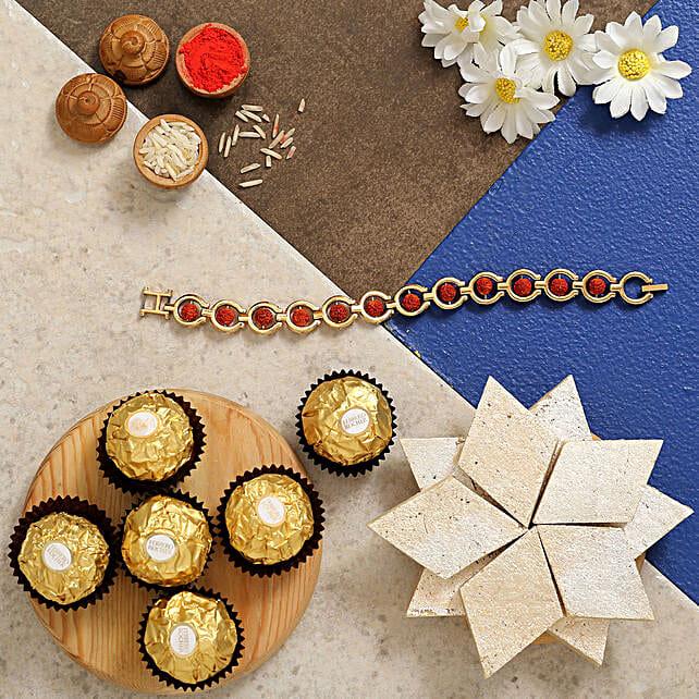 Rudraksha Bracelet Rakhi With Kaju Katli And Ferrero Rocher