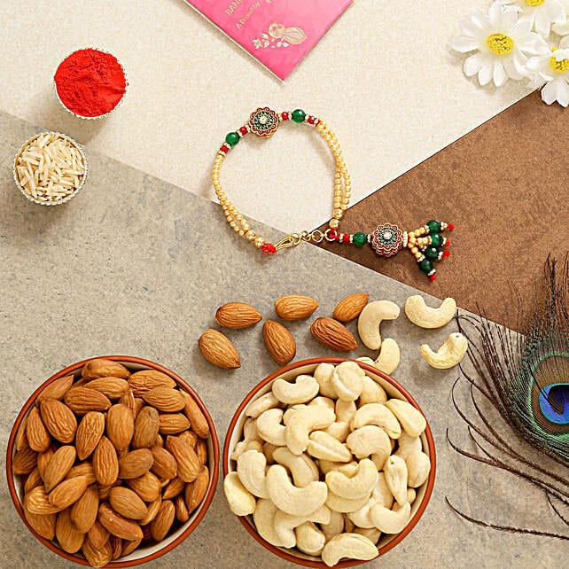 Green Bracelet Rakhi With Almonds And Cashew