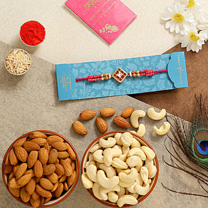 Square Stone Rakhi With Almonds And Cashew