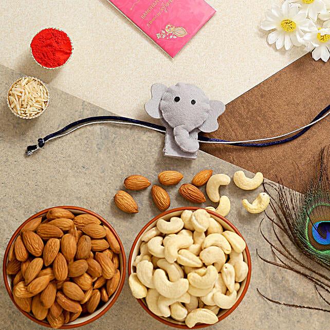 Elephant Kids Rakhi With Almonds And Cashew