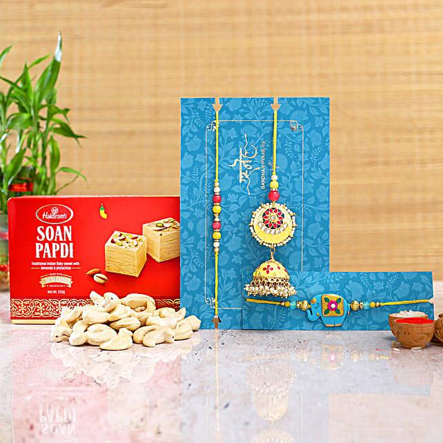 Jhumki Lumba Rakhi Set And Kids Rakhi With Soanpapdi And Cashew
