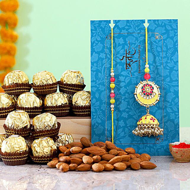 Jhumki Lumba Rakhi Set With Almonds And Ferrero Rocher