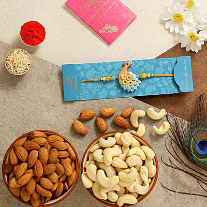 Peacock Kids Rakhi With Almonds And Cashew