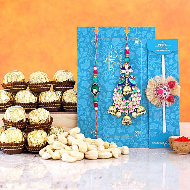 Lumba Rakhi Set And Peppa Pig Rakhi With Cashew And Ferrero Rocher
