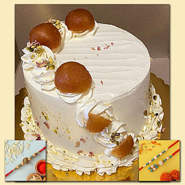 Super Delicious Gulab Jamun Cake With Set Of Two Rakhi Set:Rakhi With Cakes to Canada