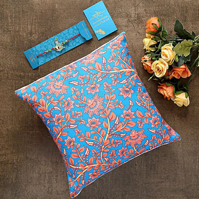 Bal Krishna Kids Rakhi And Floral Print Cushion