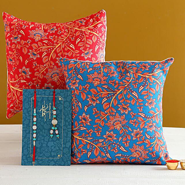 Blue Lumba Rakhi Set And 2 Floral Print Cushions:Rakhi With Personalised Gifts to Canada