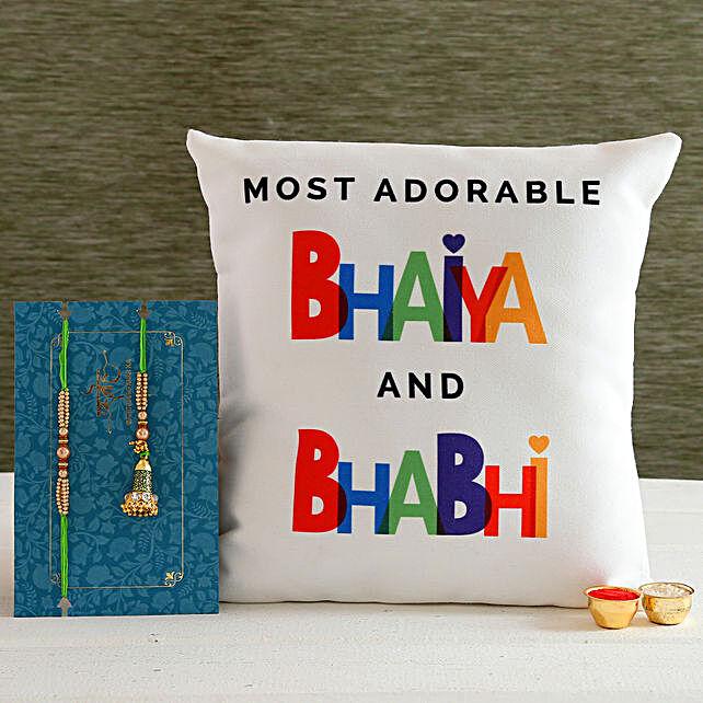 Green Lumba Rakhi Set And Bhaiya Bhabhi Cushion:Rakhi With Personalised Gifts to Canada