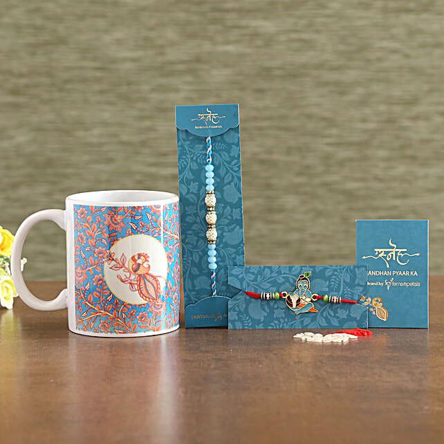 2 Traditional Rakhis And Ceramic Mug Combo