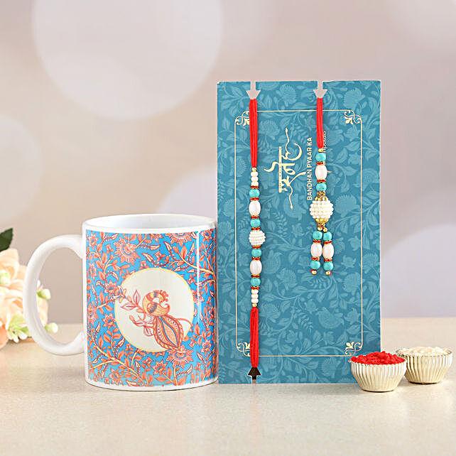 Blue Lumba Rakhi Set And Ceramic Mug Combo