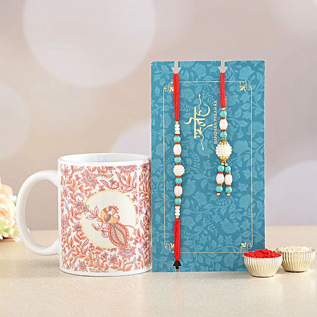 Blue Lumba Rakhi Set And Printed Mug Combo:Rakhi With Personalised Gifts to Canada