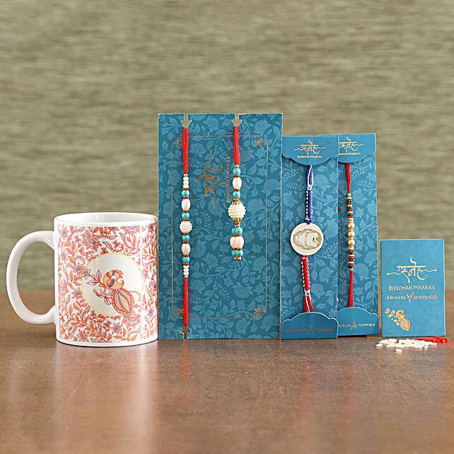 Ethnic Family Rakhi Set With Printed Mug