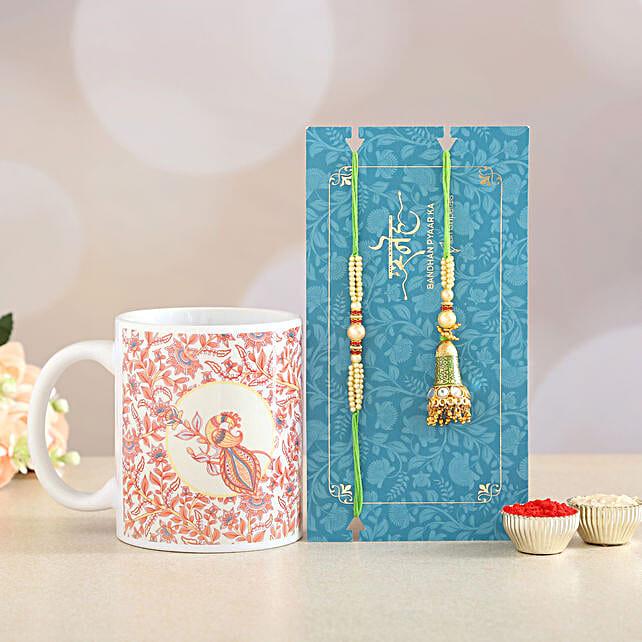 Green Lumba Rakhi Set And Printed Mug Combo