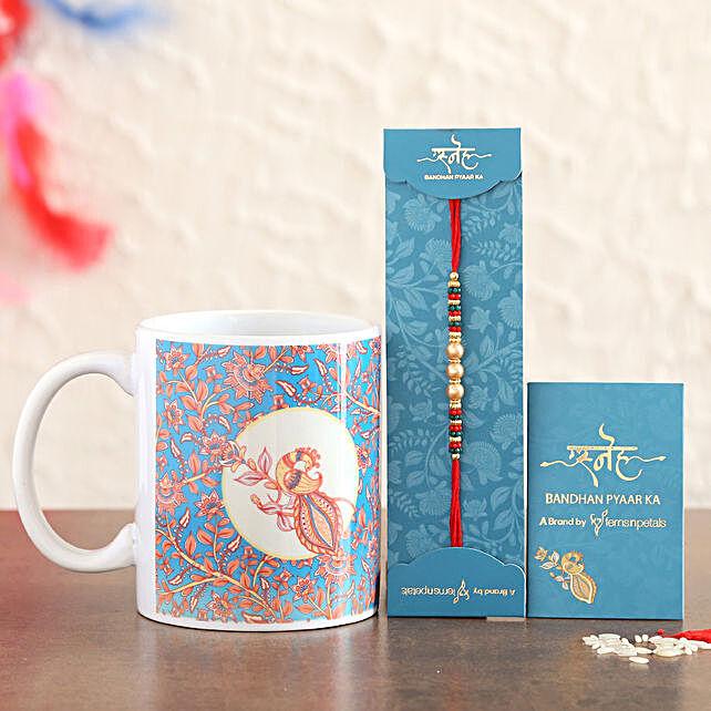 Pearl Rakhi And Ceramic Mug Combo