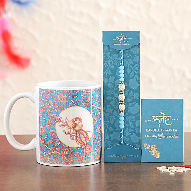 Sea Blue Pearl Rakhi And Ceramic Mug Combo