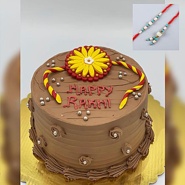 Blue Lumba Rakhi Set And Chocolate Cake:Rakhi With Cakes to Canada