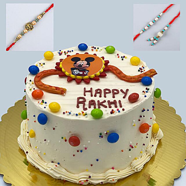 3 Designer Rakhis And Vanilla Cake:Rakhi With Cakes to Canada