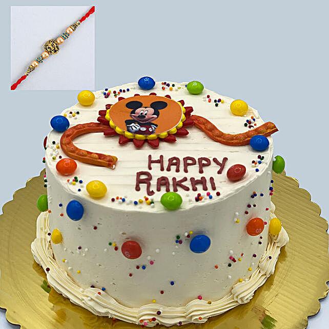 Lion Face Rakhi And Vanilla Cake:Rakhi With Cakes to Canada