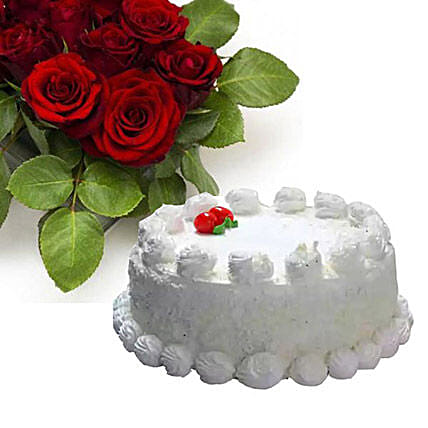 Vanilla Cake With Dozen Roses:Send Valentines Day Cakes to Canada