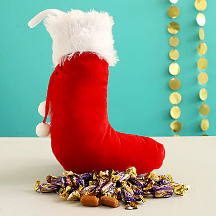 Choclairs Candy In Furry Red Xmas Stocking:Send Christmas Gifts to Chile