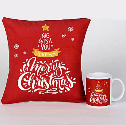 Xmas Greetings Cushion Mug And Cushion