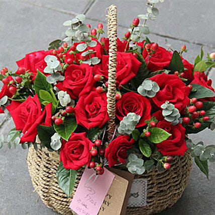 24 Red Roses Basket Arrangement