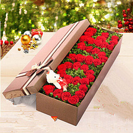 Box Of 36 Red Roses:Send Valentines Day Gifts to China