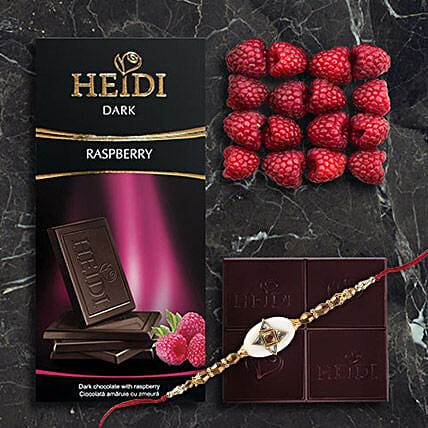 Heidi Raspberry Dark Chocolate Rakhi Combo