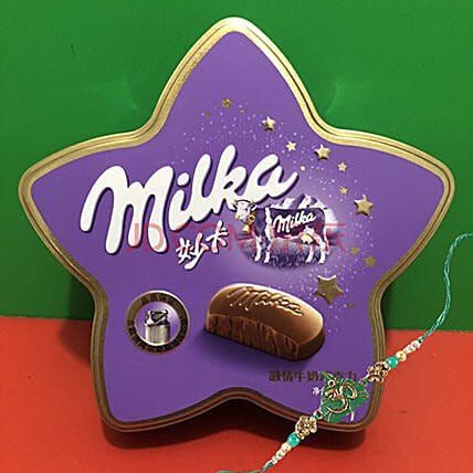 Rakhi And Milka Milk Choco One Rakhi Combo