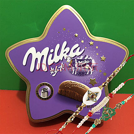 Rakhi And Milka Milk Choco Three Rakhi combo