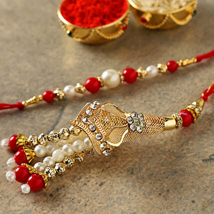 Red Fancy Bhaiya Bhabhi Rakhi:Rakhi With Sweets to China