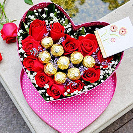 Roses N Chocolate In Heart Box Arrangement
