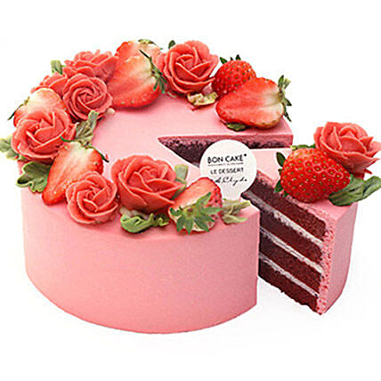 Roses N Strawberries Topped Cake