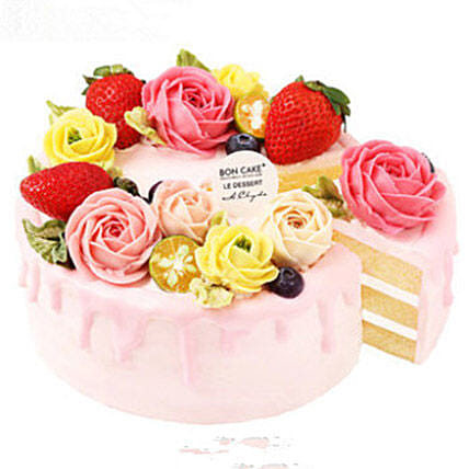 Flowers N Fruits Topped Cake