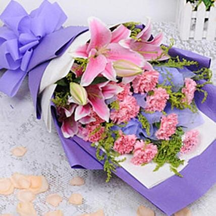 Filled With Care Carnations And Lilies Bouquet