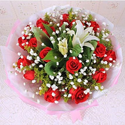 Most Beautiful Rose And Lily Bouquet