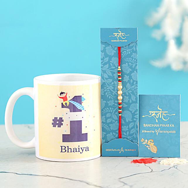 Pearl Rakhi And No 1 Bhaiya Mug Combo