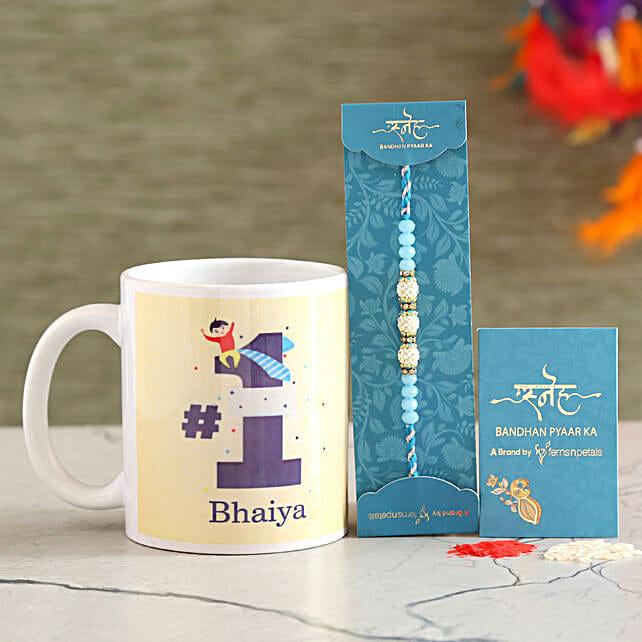 Sea Blue Pearl Rakhi And No 1 Bhaiya Mug Combo
