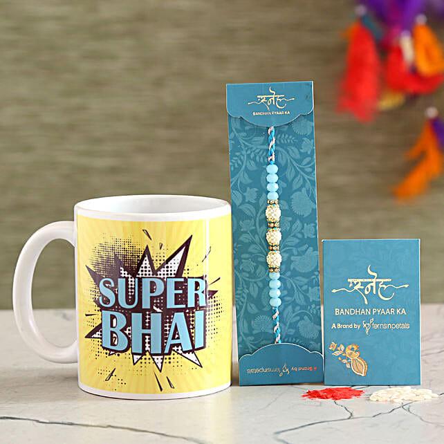 Sea Blue Pearl Rakhi And Super Bhai Mug Combo