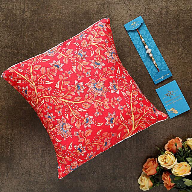 White Pearl Rakhi And Beautiful Cushion