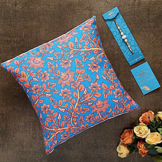 White Pearl Rakhi And Floral Print Cushion