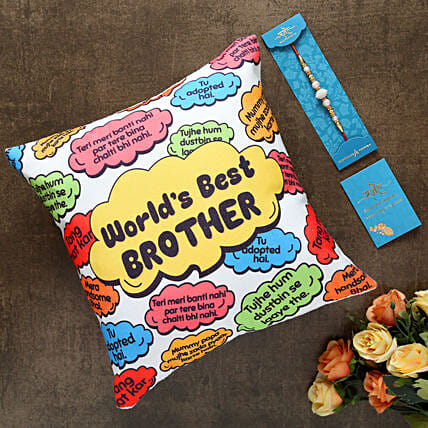 White Pearl Rakhi And Worlds Best Brother Cushion