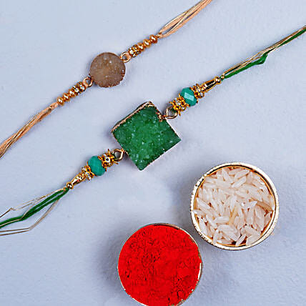Beautiful Set Of 2 Agate Stone Rakhis