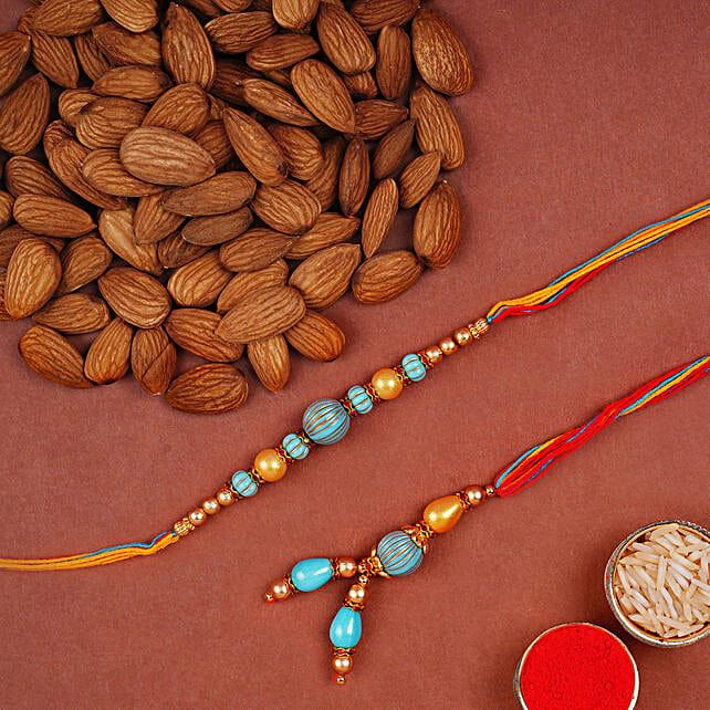 Blue Stone Rakhi Set And Almonds Combo