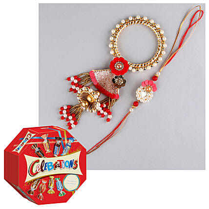 Designer Lumba Rakhi With Celebrations Chocolate