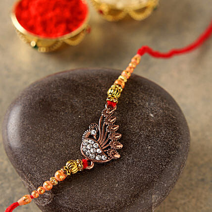 Elegant Golden Peacock Rakhi:Send Rakhi to France