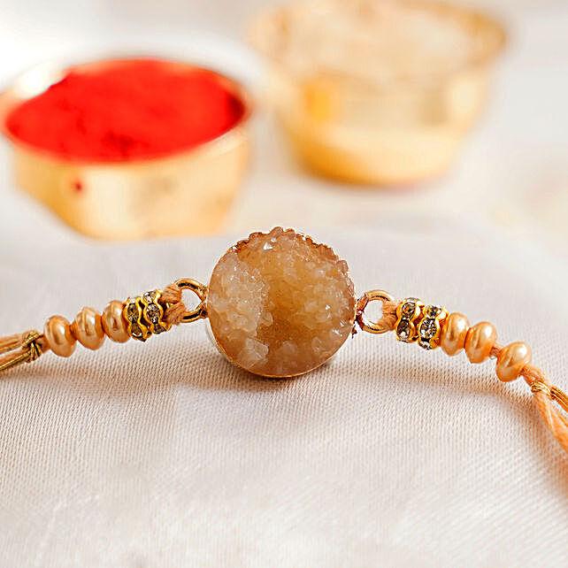 Stone Agate Round Rakhi