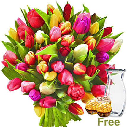 Bunch Of Tulips And Chocolates:Order Flowers in Germany