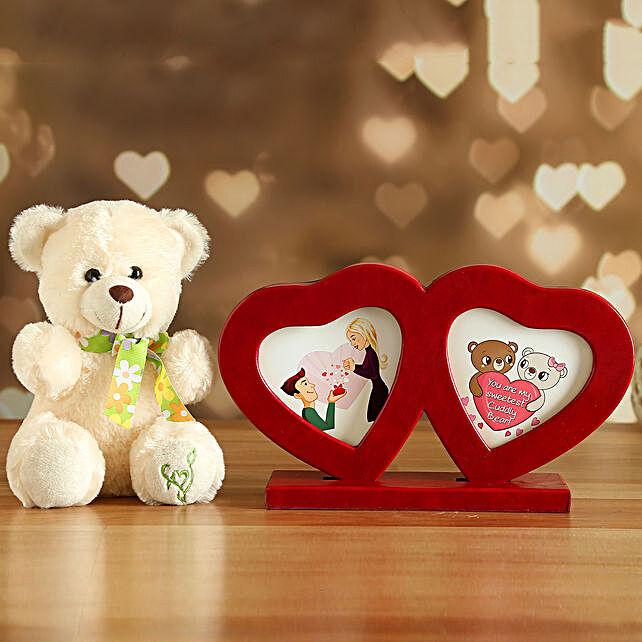 Couple Heart Photo Frame And Cute Teddy