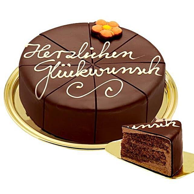 Dessert Sacher Cake Herzlichen Glueckwunsch